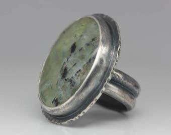Prehnite & Sterling Ring, Prehnite Statement Ring, Unisex Green Ring, Le Chien Noir, Size 7.75