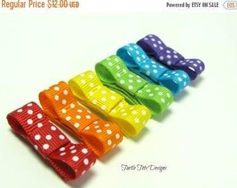 ON SALE Rainbow Polka Dots Hair Clips, Tuxedo Snap Clips, Starter Set, Babies Toddler Girl Women