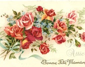 Vintage French Postcard Peach Roses with Aqua Blue Ribbon from Vintage Paper Attic