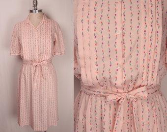 1940s shirt dress // pink and purple tulips
