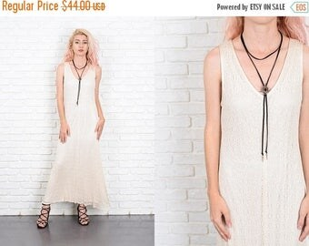 Sale Vintage 80s Cream Lace Dress Geometric Cutout Maxi Sleeveless Small S 9973