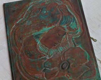 Rust Patina Copper Repousse, Woman Portrait Art, Vintage Soviet Wall Art Women Face Plaque Relief, Verdigris Copper Art Hammered out Copper