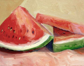 Watermelon Original Small Still Life Oil Painting