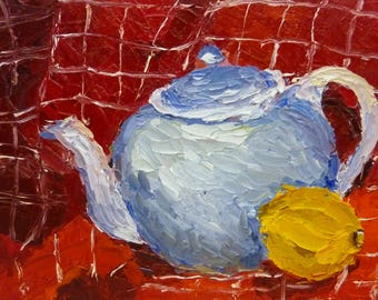 Small Abstract Still Life Oil Painting  on CanvasTeapot and Lemon
