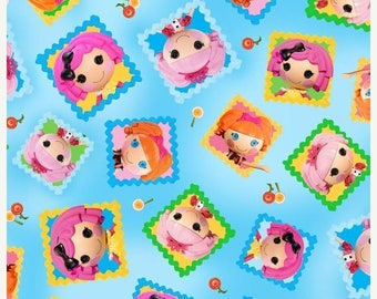 "SUMMER SALE END Of Bolt - Lalaloopsy Tossed Doll Blocks on Blue from Quilting Treasures - 16"" X 44"""