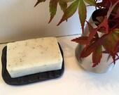 50% off sale - Ceramic Cedar Soap Dish & Natural Soap