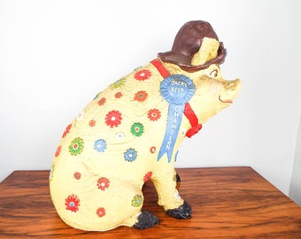 Vintage Huge Pig Advertising Piggy Money Bank Yellow Chalkware Flowers Pottery