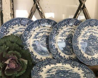 Olde Staffordshire English Ironstone Dinner Plates - English Village - Set of (8)