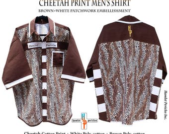 Cheetah Print Men's Shirt | XXL Shirt | Big Wild Cat | Brown White Patchwork | Animal Print | Button-up Shirt by Hamlet Pericles | S111212