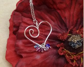Heart birthstone mothers necklace