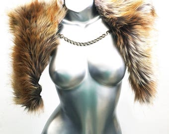 Burningman Clothing - Foxy Brown mini Faux Fur Capelet - By Luv Warrior