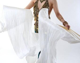 LEFT HAND - White silk Fans