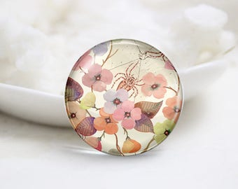 Flower Photo Glass Cabochons (P3825)