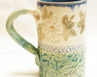 ceramic dogwood coffee mug 16oz  stoneware 16D058