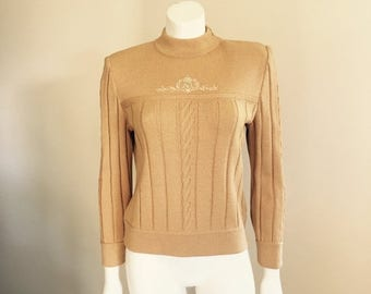 St John Knit / 80s / Gold Sweater / Logo / Designer Clothing / High Fashion / Preppy