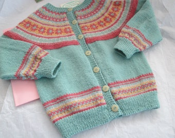 Hand Knit Fair Isle Sweater Girl 4T Pure Highland Wool Ready to Ship