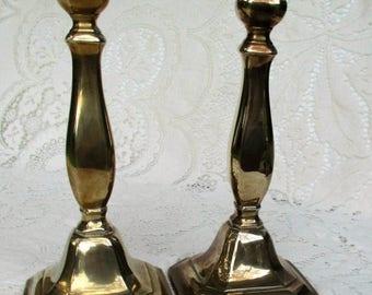 "20% OFF Summer SALE. RARE Vintage 10"" Solid Brass Candlestick Holders"