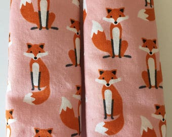 Fox- Stroller Strap Covers, Car Seat Strap Covers, Reversible Strap Covers