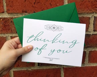Thinking of You Art Deco Greeting Card with Matching Green Envelope