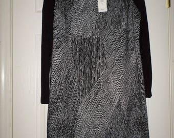 Vintage Mod Dress NWT 90s Old Stock Black & Gray Dress Long Sleeve Dress