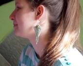 spring earring ,Bead embroidery, Seed bead jewelry,  Fashionable earring, Trending jewelry,  Swarovski,  Silver, green ,rhinestone earring