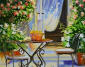 Original Painting of AL FRESCO, French patio, outdoor scene,impressionistic painting