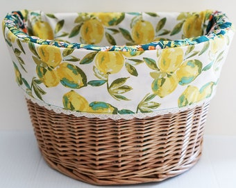 Electra Wicker Front Basket Liner in Lemon Print, Bicycle Basket Liner, Electra Basket Liner, Bike Basket Liner