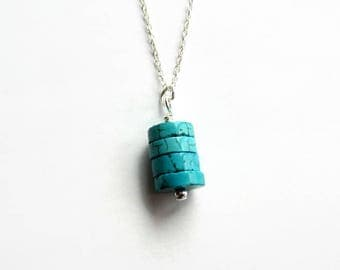 Turquoise Necklace - Sterling Silver Gemstone Necklace - December Birthstone - Turquoise Jewellery - Turquoise Heishi Necklace