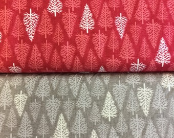 Makower Scandi 2 Trees 1477 cotton fabric in red or taupe by the half metre
