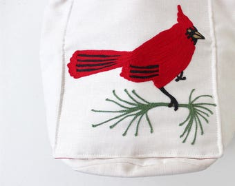 Vintage Embroidered Cardinal Handbag / 80s 90s White and Red Tote Bag