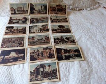 16 Antique Italian souvenir travel postcards w monuments of Rome unused post cards 1920s vintage colour postcards memorabilia paper ephemera