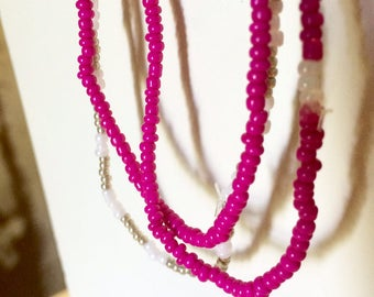 Seed Bead Stretch Bracelet Set of 3-- Hot Pink/White/Gold