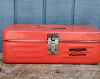 Vintage Orange Tool Box -  Tackle Box - Union Utility Box