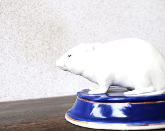 Vintage Rat Figurine Paperweight Bookend, 1970s Handpainted Odd Kitsch Collectible Office Decor