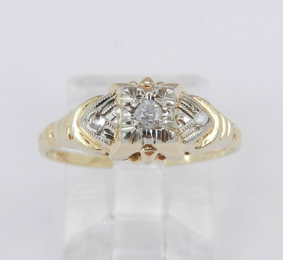 Antique Ring Vintage Ring Diamond Engagement Ring Yellow Gold Genuine Natural Size 6
