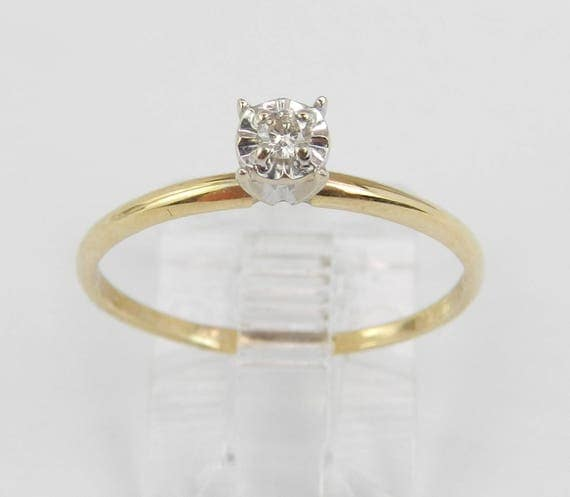 Solitaire Diamond Engagement Ring Yellow Gold Round Brilliant Size 7.75