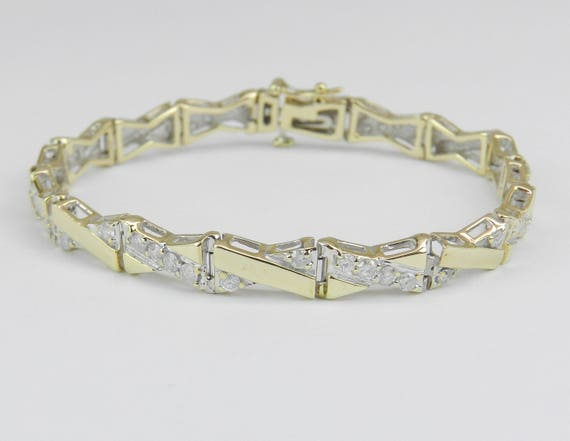 14K Yellow Gold Diamond Fashion Statement Tennis Bracelet Great Gift