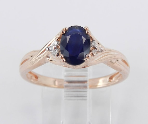 Diamond and Sapphire Engagement Promise Ring Size 7 Rose Gold September Birthstone