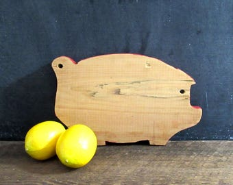 Vintage Small Wooden Pig Cutting Board with Red Trim, Farmhouse Kitchen Decor