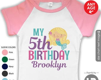 Mermaid Birthday Shirt or Bodysuit - Raglan Sleeves - Personalized Mermaid Shirt with child's age and name - Mermaid Shirt