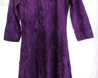 Vintage - Bohemian - Gypsy - Lush Grape - Hippie Dress - Velvet Cotton Embroidered - Royal Purple
