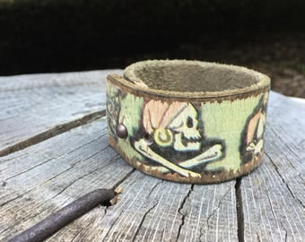Wide Leather Cuff Bracelet - Unisex Jewelry - Pirate Skull & Crossbones / Jolly Roger from Soft Sued Vintage Leather