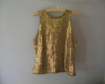Vintage Gold sequin top- 90's (( Size medium to large 8))