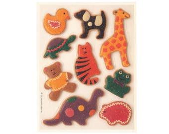 Vintage 90's HALLMARK Stickers Sheet ~ Glitter ANIMAL CRACKERS Cookies Dog Cat Teddy Bear