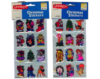 2 PACKS Vintage 80's PUFFY Stickers ~ CHRISTMAS Holiday Santa Claus Tree Reindeer Poinsettia
