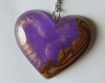 Lavender Dreams Wood Heart Necklace Pendant