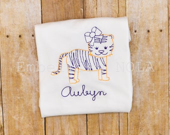 Tiger Girl Embroidered Shirt or Bodysuit, Purple and Gold