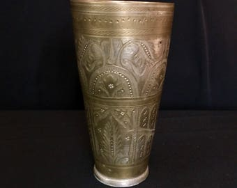 Vintage Engraved Brass Cup ISLAMIC Motif Pakistan Goblet Handmade TRIBAL Belly Dance Stage Prop Uber Kuchi®