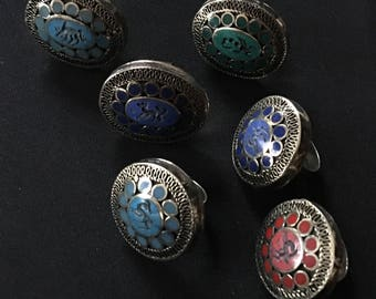 Wholesale Lot of 6 KUCHI Tribal Carved Large RINGS KB1 Theater Belly Dance Costume Jewelry Uber Kuchi®