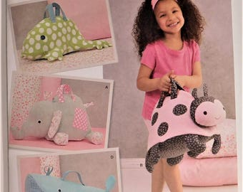 Fleece Animal Bags with Handles and zip closure, Elephant, Ladybug, Frog, Whale New Simplicity Pattern 1084 Slumber Party Overnight Bag